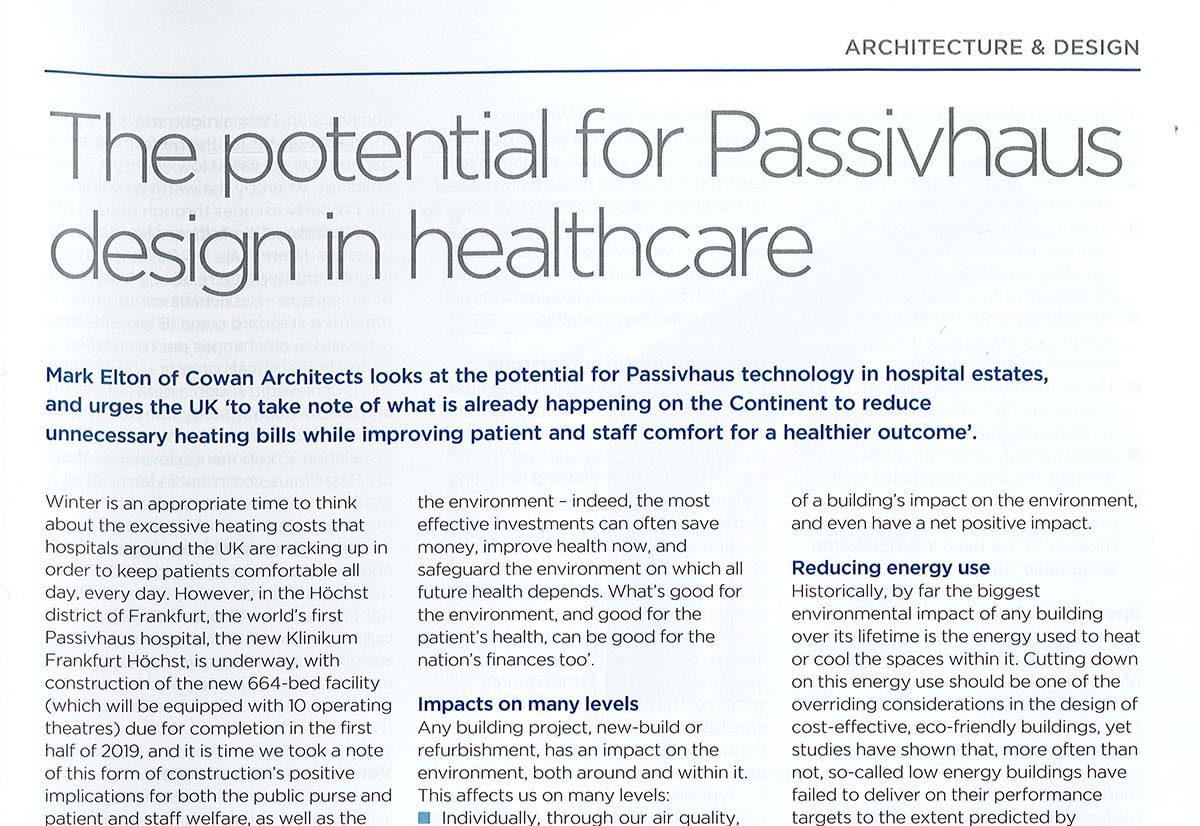 The Potential for Passivhaus Design In Healthcare