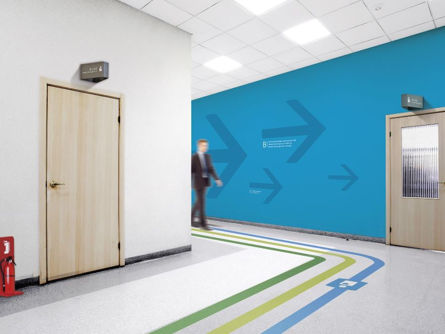 Hospital Corridor showing Way Marks