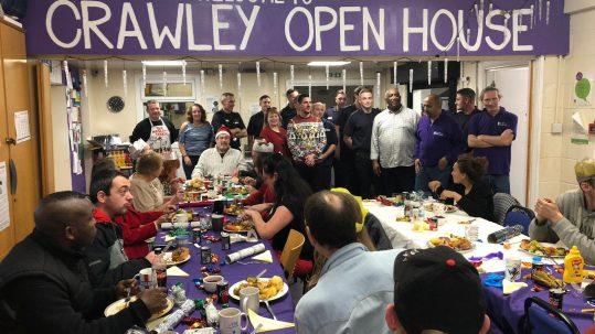 Photo of users of Crawley Open House at Christmas dinner