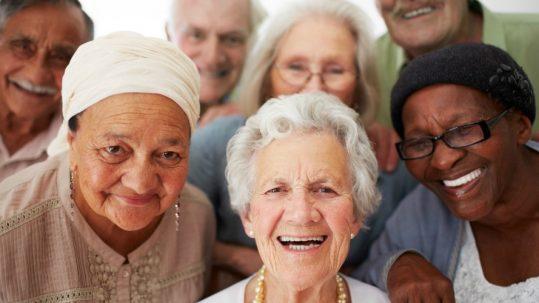 Photo of happy elderly faces